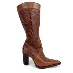 To the Max Tooled Brown Leather Knee High Boots